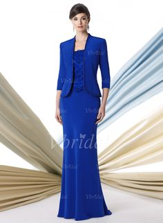 Mother of the Bride Dresses - $142.99 - Trumpet/Mermaid Square Neckline Floor-Length Chiffon Charmeuse Mother of the Bride Dress With Lace Beading (00805008535)