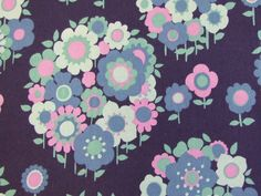 Floral pattern. (Moygashel 'Melanie' 1960s fabric - available from Rainbow Vintage Home online shop)