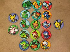 Pokemon Coaster im 3er-Pack Deal - Perler Bead Sprite w/Cork Back - alle drei Pokemon