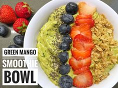 Green Mango Smoothie Bowl - from Lunchblocks Banana Breakfast, Breakfast Recipes, Cereal Recipes, Few Ingredients, Smoothie Bowl, Fruits And Vegetables, Gluten Free Recipes, Vegan Vegetarian, Acai Bowl