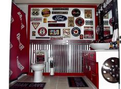 Vintage auto themed bathroom, Basement bath for my teen boys done in a garage / vintage auto theme, This is a basement bathroom shared by 3 ...