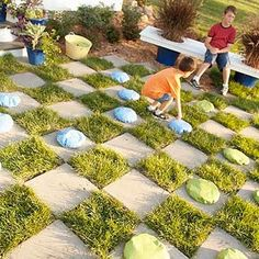 Outdoor Checkerboard Game -I've always wanted the giant checkerboard in the yard... Like Alice in Wonderland!