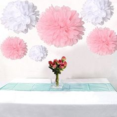12pcs Mixed 3 Sizes White Pink Tissue Paper Pom Poms Flower Wedding Party Baby Girl Room Nursery Decoration AllHeartDesires http://smile.amazon.com/dp/B00EP6S8G8/ref=cm_sw_r_pi_dp_zuucub02HM3R5