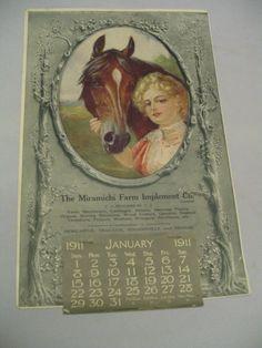 R. Atkinson Fox Brown Horse & Lady Blond Hair  Old Friends Rare Calendar 1911