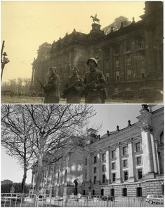 Russian soldiers in front of the Reichstag building in this undated photo taken May 1945 in Berlin (top) and at the same location (bottom) April 20, 2015. (Georgiy Samsonov (top), Fabrizio Bensch/Reuters (bottom))