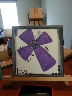 Faith, hope, love purple cross canvas