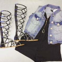 How fun are these #justfab gladiator sandals! Paired with a simple black romper these statement shoes are sure to stand out! #platosclosetkitchener #gladiatorsandals #fashion #style   www.platosclosetkitchener.com