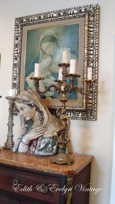 Antique French Candelabra Lamp, Four Arm, Brass, Goddess, Dolphin French Country Cottage, French Country Style, Four Arms, Home Altar, Antique Chandelier, Candle Lamp, Religious Icons, Altars, Mother Mary