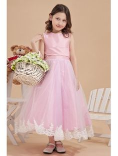 Satin and Mesh Jewel Ankle-Length Ball Gown Flower Girl Dress