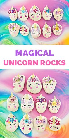 Magical DIY Unicorn Rocks. #rockart #paintedrocks #unicornparty #unicorn #unicornio #unicorndiy #kidscraft #kidsart