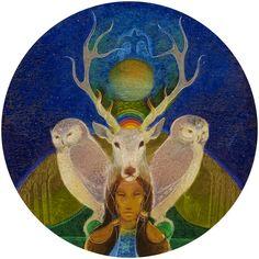 """Owl Totem - Untitled"" by Susan Seddon Boulet, 1976 (Turning Point Gallery Emu, Spiritual Symbols, Alchemy Symbols, Pomegranate Art, Classical Period, Native American Artwork, Power Animal, Animal Totems, Gods And Goddesses"