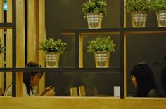 women dining at table next to potted herbs inside Shabuhouse