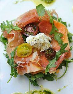 19 Healthy Burrata Recipes: Melon Prosciutto and Burrata Salad with Cantaloupe, Pesto, Arugula, Cherry Tomatoes,