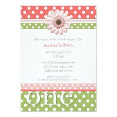Sweet First Birthday Party Invitations Lime Melon