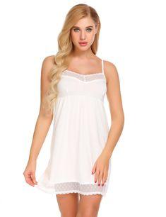 ab0a173a720 Ekouaer Women Strappy Sleepwear Lace V-Neck Nightgown Trim Chemise Nightgown  Slip Lingerie Dress Summmer Sexy Female Sleepshirt