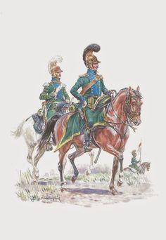 Officier et Trompette des Chevau-Légers Lanciers (5° Rgt)