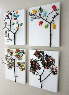 Twig Tree Canvas -- four seasons craft artwork using twigs and fabric Kids Crafts, Fall Crafts For Kids, Tree Crafts, Art For Kids, Diy And Crafts, Kids Fun, Creative Crafts, Twig Tree, Tree Branches