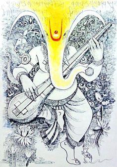 Ganesha Drawing, Lord Ganesha Paintings, Ganesha Art, Krishna Painting, Pichwai Paintings, Indian Art Paintings, Mural Painting, Indian Artwork, Art Sketches