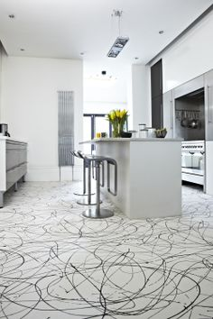 A Modern Monochrome Kitchen Urban Black White Flooring Vinyl