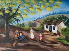 Pintura em Tela. Tema paisagem rural.