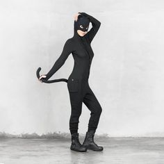 PANTHER Winter Pajamas for Men and Women - Bendable Tail - Three Pockets - Knit One Piece Catsuit Costume - Valentine's Day Gift - PJ's