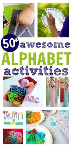 50 awesome alphabet activities for preschool and kindergarten. Fun learning after school or homeschool alphabet ideas.