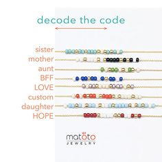 Announcement: orders from 11/25/16 will come with a printed Morse code decoding card (see picture). Please see NOTE below for more details. 2 layers thin delicate alphabet charm custom Morse Code bracelet. Gold or silver version available. PLEASE LEAVE MESSAGE DURING CHECKOUT (on options): - bead color - alphabet (A - Z) - custom name / word on Morse Code beads (if you select this option) 8 bead color option / see chart 1) black & white 2) navy blue & white 3) r...