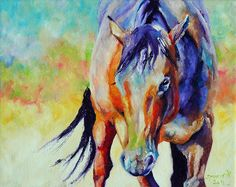 Original Colorful Horse Painting 8x10 by mybunnies3 on Etsy  Sandra Spencer