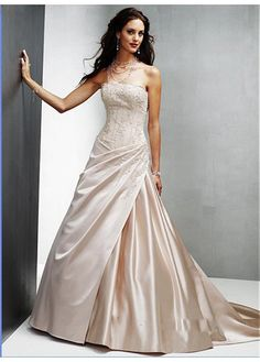 LACE BRIDESMAID PARTY BALL EVENING IVORY WHITE FORMAL PROM SATIN A-LINE STRAPLESS WEDDING DRESS