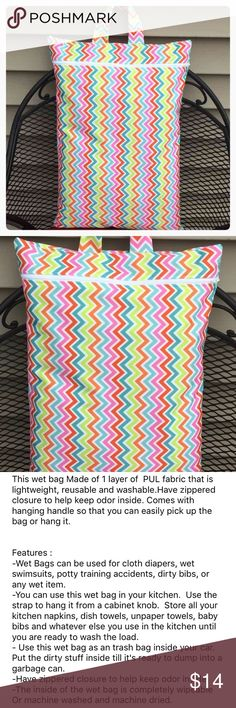 """XL Hanging Wet Bag 20""""x14"""" size- Multi Chevron Hanging Wet bag Extra large Size: 14""""x20""""  This wet bag Made of 1 layer of  PUL fabric that is lightweight, reusable and washable.Have zippered closure to help keep odor inside. Comes with hanging handle so that you can easily pick up the bag or hang it. Accessories Bags"""