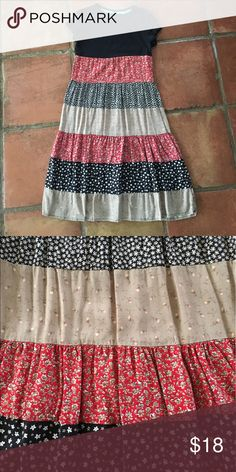 Handmade Dress Upcycled tee with multi floral print attached skirt. Super soft, smoke and pet free home. Tee reads xs, size estimate is girls' 12. Pls pm for measurements! handmade Dresses Casual