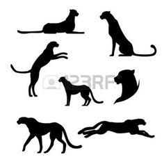 panther: Cheetah ensemble de silhouettes noires. Icônes et illustrations d'animaux. Motif des animaux sauvages.