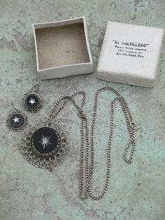 VINTAGE MEXICAN STERLING SILVER & ETCHED GLASS NECKLACE EARRINGS & ORIGINAL BOX