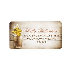 Shop Mason jar & white yellow flowers address labels created by jinaiji. Rustic Wood Background, Custom Address Labels, How To Be Outgoing, Yellow Flowers, Thank You Cards, Mason Jars, Templates, Writing, Words
