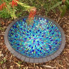 New birdbath just in time for Christmas. Gorgeous blue and green glass tile. The birds will love it!