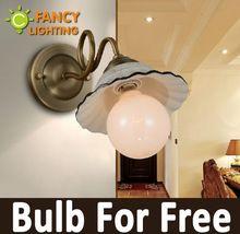Design criativo relógio de parede estilo country moderno montado lâmpada de cerâmica lâmpada de parede de ferro forjado para badroom/foyer/lobby/varanda 110 V/220 V(China (Mainland))