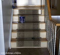 stenciled stair risers | Ack! Look at that runner and the grungy peach-colored paint!
