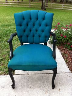 love the idea of a teal/blue chair, and intregued with fabric paint. But at $7 a bottle and 4 bottles a chair, there's got to be a DIY way to DIY this even more.