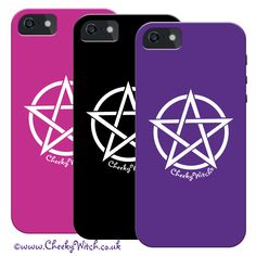 Pentacle iphone cases in assorted colours by Cheeky Witch® Click on the pic to see more! www.cheekywitchtees.co.uk #iphone #phonecase #pentacle #pentagram #witch #wicca #pagan #charmed