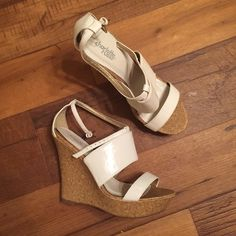 White and cork strappy wedge Gorgeous shoe.  No defects. Smoke and pet free home. Charlotte Russe Shoes Wedges