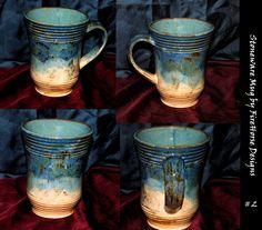 Stoneware mug glaze blending.
