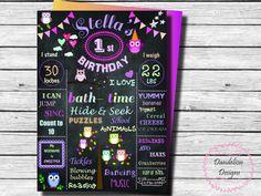 Owl 1st Birthday chalkboard owl first birthday chalkboard