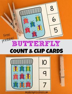 Printable butterfly count & clip cards to practice 1:1 counting and fine motor skills.