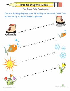 Worksheets: Tracing Diagonal Lines: Match the Opposites