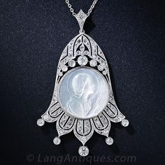 Platinum, Diamond and Mother-of-Pearl Virgin Mary Pendant Edwardian