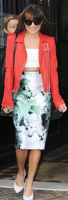 Who made  Lea Michele's floral skirt, white scallop pumps, handbag, and pink leather jacket that she wore in New York?