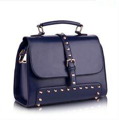 b6fad7b5659a Женская стильная сумка-саквояж из натуральной кожи Синяя: купить в Харькове,  цена.
