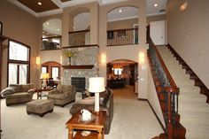 2 story fireplace photos - Google Search ARCHES OVER BALCONY