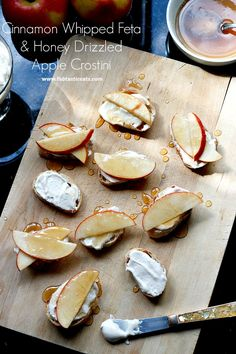 Cinnamon Whipped Feta and Honey Drizzled Apple Crostinis - Fabtastic Eats Yummy Appetizers, Appetizer Recipes, Snack Recipes, Whipped Feta, Fall Snacks, Thanksgiving Recipes, Food Processor Recipes, Nutrition Products, Nutrition Articles