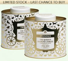 Queen's Diamond Jubilee Tea Caddy - Cream   Twinings Tea   Royal Tea